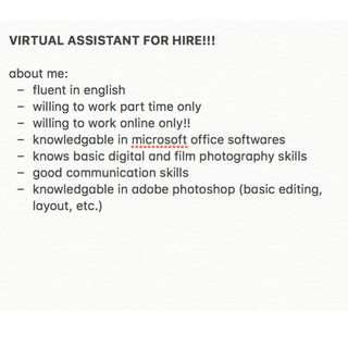 VIRTUAL ASSISTANT FOR HIRE!!!!