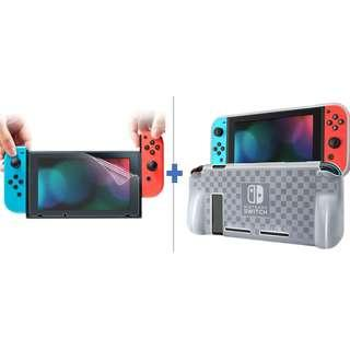 🚚 (Free Mail)Dockable Nintendo Switch TPU Case + Clear Screen Protector