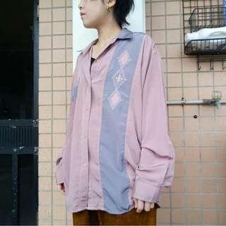🚚 明日古著二手選物粉紫色緞面老式情人襯衫111