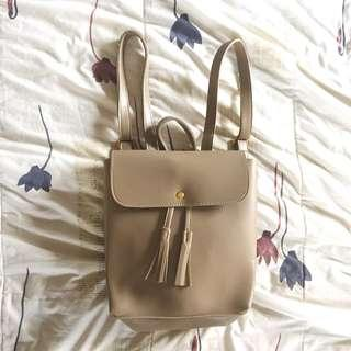 Brand New Khaki / Tan Leather Backpack