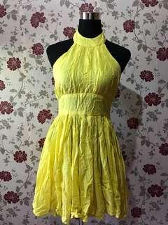 US brand Moda yellow sexy back dress