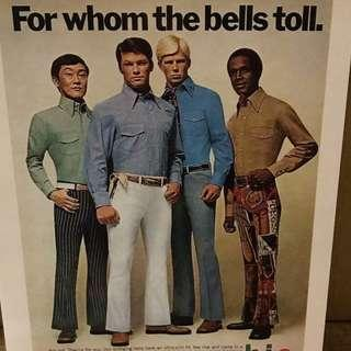 Hello Girls Large Postcards: Hunks from 70s Magazine Ads #4 Bell Bottoms