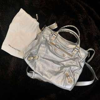 Authentic Silver Balenciaga Bag with Gold Detailing