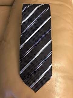 藍色斜紋絲領呔/領帶Blue Striped Silk Tie