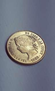 1868 4p Isabel II Gold Coin