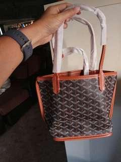 Brown Leather Reversible Mini tote