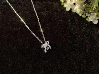 🚚 Fashion S990 sterling silver Crystal bow knot necklace
