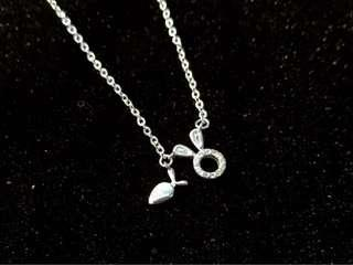 🚚 Fashion crystal cute carrot rabbit S990 perfect silver necklace