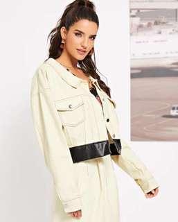 White Button Crop Pocket Front Collar Jacket fall musim dingin jaket putih size S M L muat all size