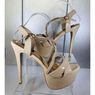 Nude 6 inches pageant heels