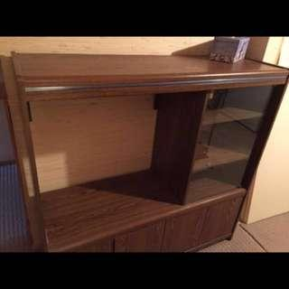 """Teak style Tv 📺 unit for sale I believe it fits a 27"""" tv for free."""