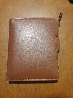 Simple brown wallet multiple compartment