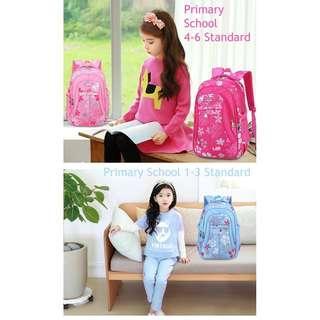 Free pos Colorful floral girl student bagpack / kids light