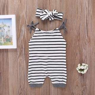 🚚 Striped Romper with Headband