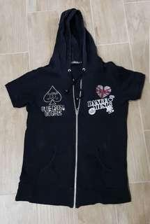 Black Short Sleeves Hoodie Jacket
