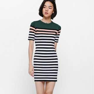 Love Bonito Reysha Striped Knit Dress in Forest Green