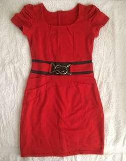 Red dress with fake belt