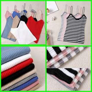 🆕Ulzzang Korean version female Lady Girl Women Tank Top Vertical Knit bottoming Slim Camisole Cami Vest Shirt Sleeveless T shirt clothing. Length 48cm, Bust 60-80cm stretchable. BNIP 🔴2 for $17🔴🔵3 for $24🔵女贴身背心