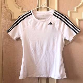 ADIDAS - 3 Stripes White Climalite Shirt