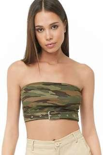 Forever21 Camou Belted Tube Top (Cropped)