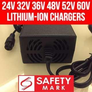 24v 32v 36v 42v 48v 52v 60v lithium ion LiPo lifepo4 battery escooter mobility scooter safety mark charger 29.4v 33v 42v 54.6v 58.8v 67.2v with fan ventilation Escooter Escooter Escooter Escooter lithium lithium lithium charger charger charger