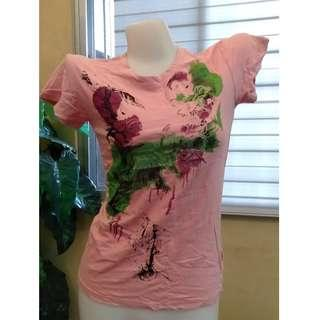Pink Tees Abstract Design Korean Blouse Trendy Fashion