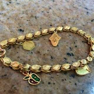 Bracelet With 4 Charms Saudi Gold 18k 14g