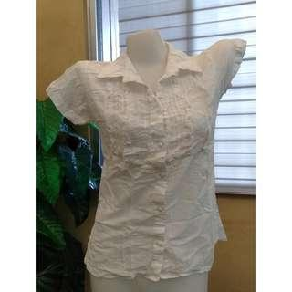 White Polo Blouse Formal Office Top Short Sleeves