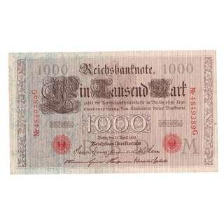 1910 German Thousand Mark Banknote