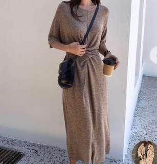 Wrapped waist midi dress cotton