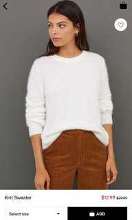 H&M White Knit Sweater