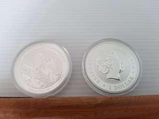 🚚 2013 Kookaburra 01 oz silver coins