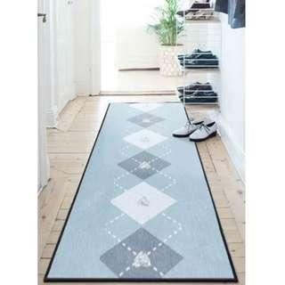 Blue Argyle Chenille Floor Rug - Runner Size | Carpet