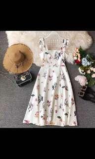 🚚 2 way floral flutter midi dress