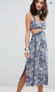 Free People Blue Midi Festival Cutout Dress AU Size 4