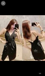 🚚 Sexy v cut mini black wrap dress