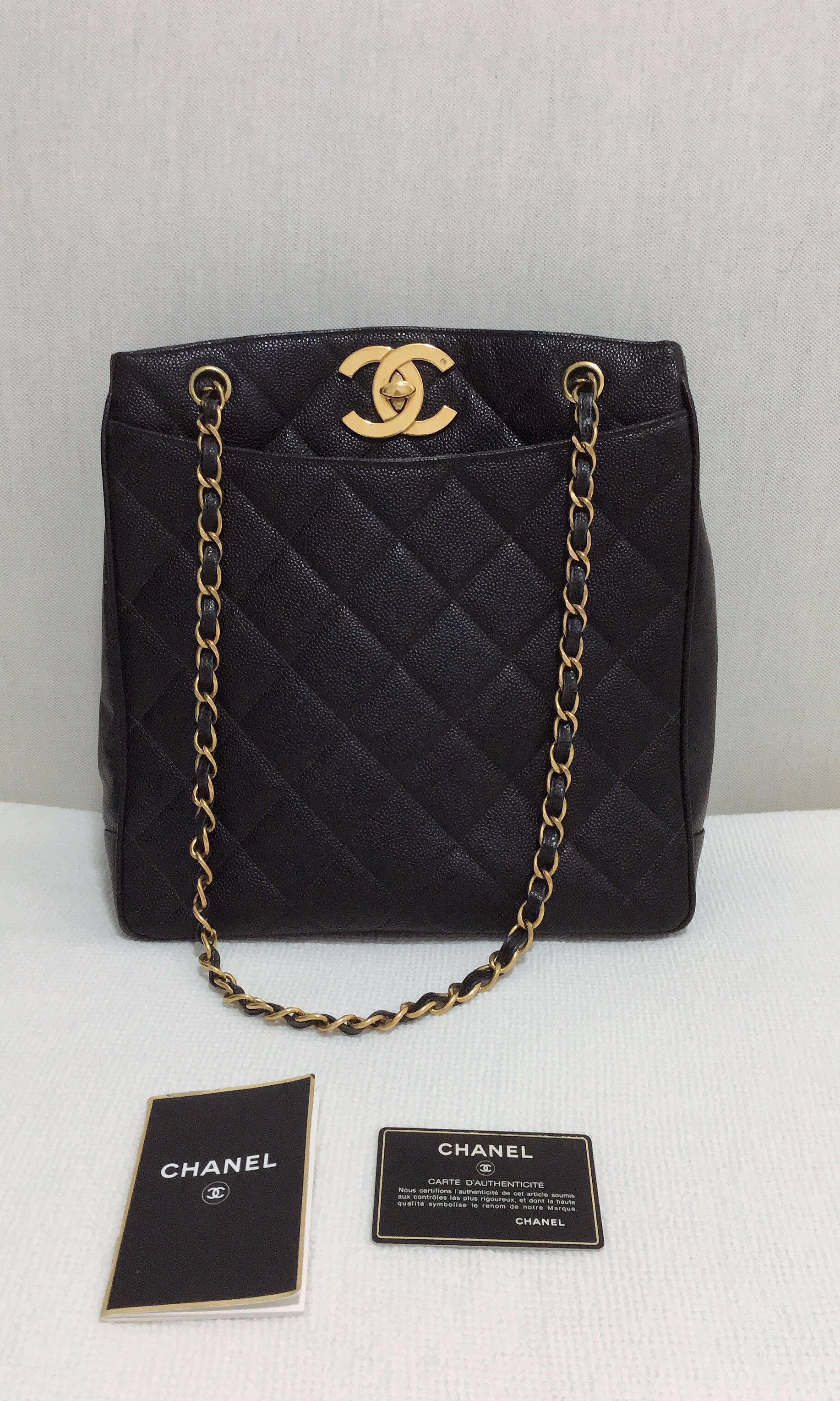 a7d4006eba7a 100% Authentic CHANEL Vintage Quilted Jumbo CC Turn Lock Chain ...