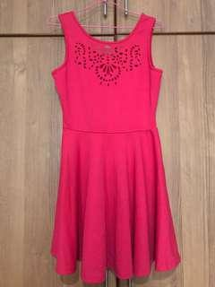 Pink Cut-out Skater Dress