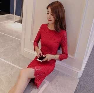 Elegant Red Lace Dress #MakeSpaceForLove