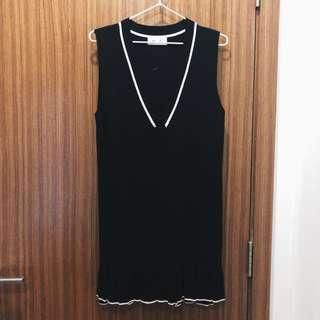 White Trimmed Frilled Dress