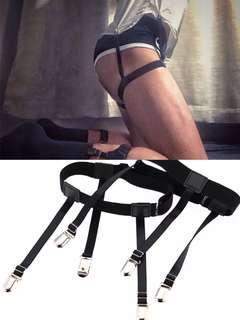 🚚 Men's Shirt stay Holders Elastic Garter with Non-Slip Locking Clamps