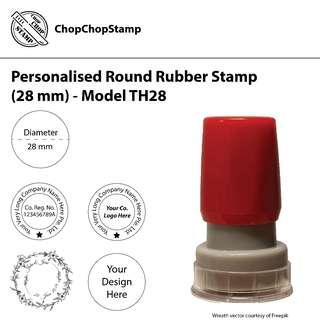 🚚 Personalised Round Rubber Stamp (28 mm) / Custom-made / Company Stamp / Suitable for Longer Company Names & Designs which are Sophisticated / Self-inking / Pre-inked