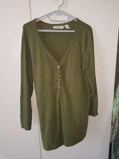 Navy Green Plus Size Shirt Long Sleeve 1XL