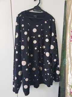 Polkadot Sweater Shirt Plus Size