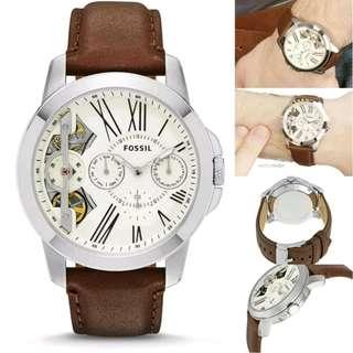 🚚 [CHEAPEST PRICE] Fossil Grant Twist Multifunction Brown Leather Men's Watch ME1144
