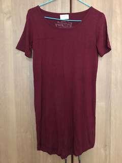 Maroon Tshirt Dress