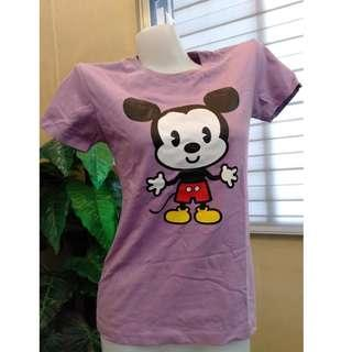 Mickey Mouse Tees Purple round Neck Shirt Korean Top