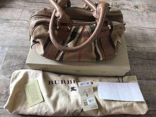 Authentic Burberry canvas+ leather Ashbury Knight satchel