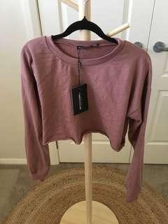 Pretty Little Thing dusty rose cropped sweater size 10