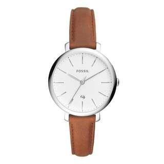 🚚 [CHEAPEST PRICE] Fossil Ladies Jacqueline Three-Hand Date Brown Leather Watch ES4368